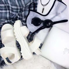 www.everlandclothing.com Everland Flatlay - Flat Lay inspo Platform Shoes, Sunglasses, Intimates, Appple Products, Faux Fur & Plaid!