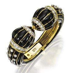 18 karat gold, enamel and diamond bangle-bracelet, David Webb