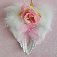 Angel Wings Christmas Ornament Shabby Cottage Chic Pink Roses Glitter Faux Fur  #MyChicFrenchCottage