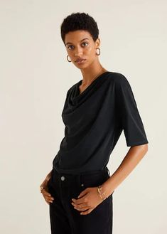 Mango Draped Neckline T-Shirt - Charcoal Xs Mango Outlet, Clothes 2019, Draped Fabric, Mango Fashion, Short Tops, Fashion Online, Latest Trends, Cool Outfits, T Shirt