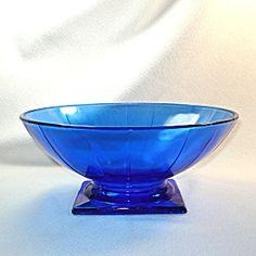 Moderne Deco style cobalt blue glass console bowl