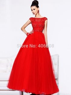 Find More Prom Dresses Information about 2015 Customized A line Bateau Floor length Red Tulle Beading Crystal Draped Prom Dresses,High Quality beaded short dress,China beads abacus Suppliers, Cheap beaded silk chiffon dress from Forever Lover Bridal on Aliexpress.com