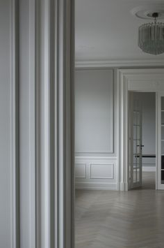 Like chandelier plus ceiling moulding around it plus coverall colours Space Copenhagen: Private Commission, Copenhagen Copenhagen Apartment, Space Copenhagen, Copenhagen Denmark, Casa Milano, Wall Molding, Moulding, Style Deco, Classic Interior, Room Colors