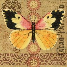 Burlap Butterfly 3 by Jennifer Brinley | Ruth Levison Design