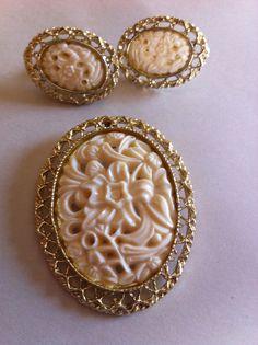 Vintage Set Of Carved Plastic Brooch/Pin by VintageBaublesnBits, $12.00