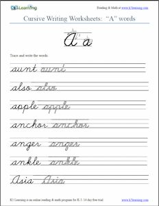 free cursive words worksheets printable k5 learning - School Worksheets To Print Out