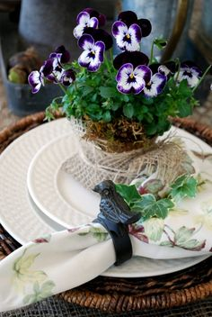 Small peat pots at each place setting are filled with sweet-faced Violas & wrapped in pieces of burlap, tied with twine~