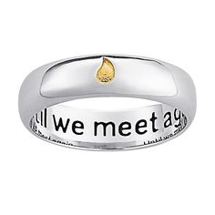 Tuck fond memories safely around your finger with this memorial sentiment ring. Offered in polished sterling silver, it features an inlaid golden teardrop to symbolize tearful goodbyes. Beautifully in Diamond Jewelry, Silver Jewelry, Silver Rings, Silver Bracelets, Layered Necklaces Silver, Memorial Jewelry, Personalized Jewelry, In This World, Jewelry Watches