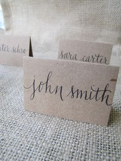 Wedding Name Place, Table, or Escort Cards, Shabby Chic, Kraft Paper: lowercase scripted font. $1.50, via Etsy.