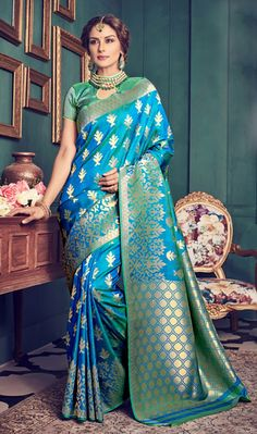 5a2e6e85278045 Art Kanchipuram Silk Saree in Blue Beautifully woven with Zari Available  with an Unstitched Art Silk Blouse in Teal Green Free Services: Fall and  Edging ...