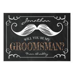 Chalkboard Wedding Invitation VINTAGE BE MY GROOMSMEN | GROOMSMAN CARD