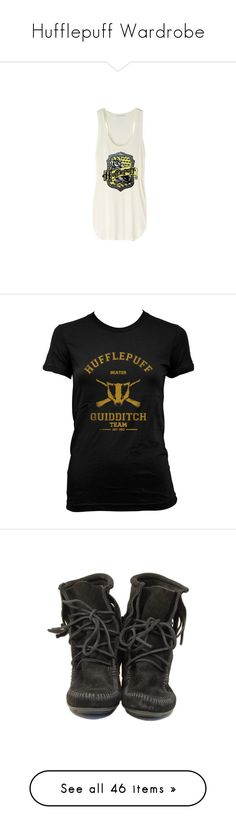 """""""Hufflepuff Wardrobe"""" by fangirl-fashion-01 ❤ liked on Polyvore featuring tops, harry potter, hufflepuff, shirts, tank tops, white singlet, white tank tops, white shirt, white tank and white top"""
