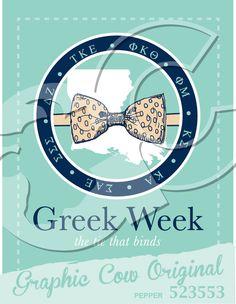 Greek Week Louisiana bow tie circle #grafcow