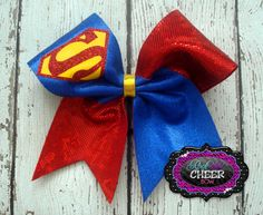 Superman Metallic Sparkle Cheer by rockthatcheerbow on Etsy, $10.00