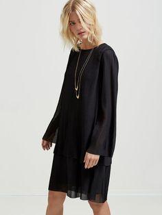 PLEATED - LONG SLEEVED DRESS, Black, large