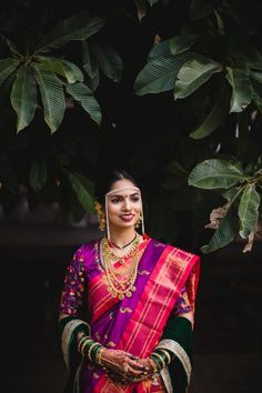 A Wedding Which Was A Blend Of Traditions And A Bride In The Most Vibrant Outfits - maharashtrian bride - Marathi Bride, Marathi Wedding, Wedding Sari, Wedding Bride, Indian Wedding Photography Poses, Wedding Poses, Wedding Couples, Couple Wedding Dress, Outdoor Indian Wedding