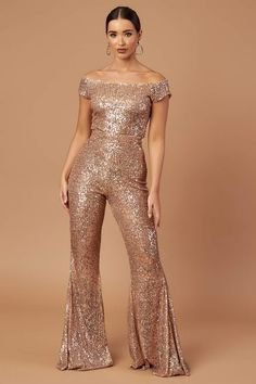 Rose Gold Bardot Flared Jumpsuit – Kirsty Doyle Fashion Rose Gold Jumpsuit, Black Underwear, Designer Jumpsuits, Scuba Fabric, Sequin Fabric, Prom Dresses, Formal Dresses, Fitted Bodice