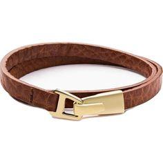 Miansai Moore Wrap Bracelet | Matte Gold/Sahara Leather