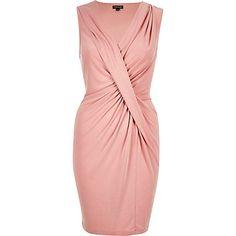 Pink draped twist dress $100.00