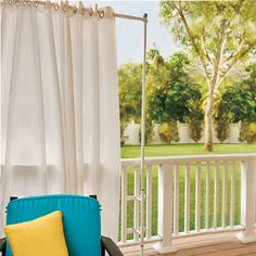 Throwing a bbq party on your deck? Create instant privacy with a Deck Railing Curtain Rod and some bright outdoor curtains.