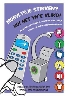 Illustratie en ontwerp poster:Afvalscheiding - mobieltjes