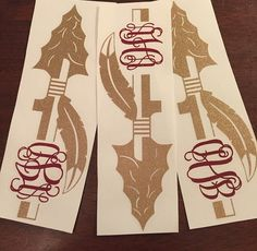 FSU Spear Monogram Decal by aNnMonograms on Etsy Florida State Football, Florida State University, Florida State Seminoles, Oklahoma Sooners, Monogram Decal, Monogram Shirts, Garnet And Gold, Silhouette Cameo Projects, Vinyl Projects
