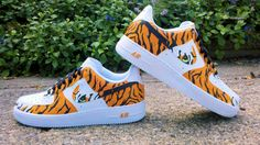 """""""Siberian Tiger"""" Custom Air Force One Nike sneakers. #ecentrikart #style #fashion #art #shoes #airforceones #nike #dunks #sneakers"""