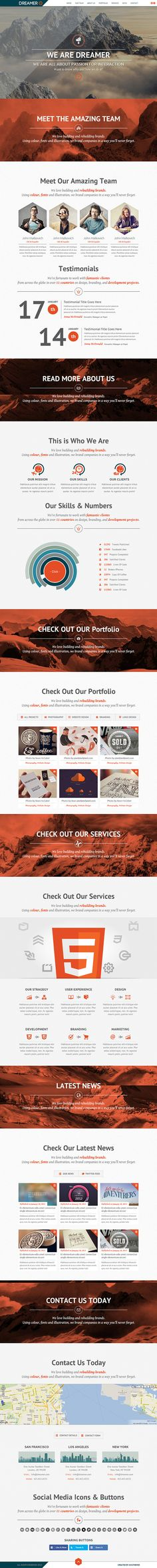 Dreamer - Responsive One Page Parallax Template by AVAThemes , via Behance