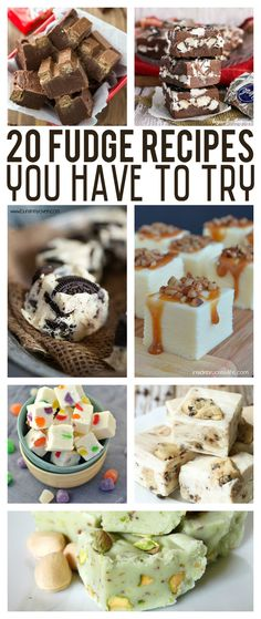 Twenty Fudge Recipes You Have To Try! Great collection of dessert recipes. Chocolate Cherry Fudge Recipe, Almond Joy Fudge Recipe, White Chocolate Fudge, Chocolate Cookie Dough, Chocolate Bonbon, Cookie Dough Fudge, Holiday Recipes, Christmas Recipes, Christmas Fudge