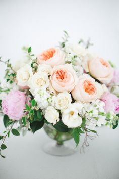 Peach, pink, and white. Photography by codreanphotography.com Floral Designer by lifeinbloomchicago.com  Read more - http://www.stylemepretty.com/2013/07/12/alice-padrul-bridal-couture-fashion-shoot-from-codrean-photography-films/