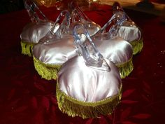 Cinderella Shoe and Pillow Candy Containers   (clear round containers are glued under the pillows)