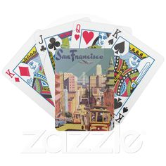 Custom Playing Cards ~ Vintage Travel Poster, San Francisco, California Card Deck from Zazzle.com