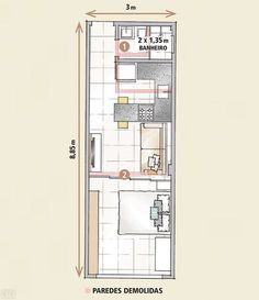 Get your idea plans for a small compact house Studio Type Apartment, Studio Apartment Floor Plans, Apartment Design, Small Apartment Plans, Small Apartments, Small Spaces, Small House Plans, House Floor Plans, Narrow House