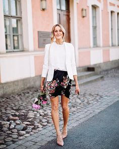 Beautiful summer outfit with a crisp white blazer, wrap skirt and Rockstud heels by Valentino - Anna Pauliina, Arctic Vanilla blog.
