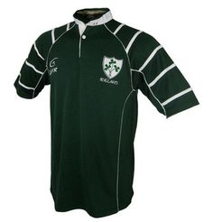 Men's Irish Rugby Jersey Embroidered Shamrock Crest on left chest Dark Green Polyester Angled white stripe Five Sizes Father's Day Deals, Ireland Rugby, Irish Rugby, Fathers Day Sale, Mens Tops, Jackets, Construction, Shirts, Clothes