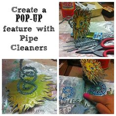 Use pipe cleaners to pop up items on page. Art Journal Pop-up Book | Pluckingdaisies.com #RangerInk #Tutorial