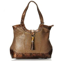 """703-428- Madi Claire """"Dahlia"""" Croco Embossed Leather Tasseled & Whipstitched Tote Bag"""