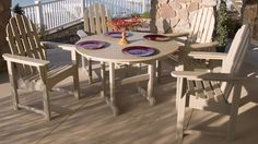 Keep it casual with this POLYWOOD® Classic Adirondack Casual Dining Set which offers a stress-free maintenance experience that's completely in line with the furniture's laidback look.