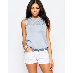 Brave Soul Tank With Crochet Yoke ($20) ❤ liked on Polyvore featuring tops, blue, blue crochet top, crochet tank top, yoke top, white tank and macrame top