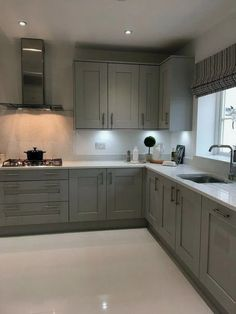good grey kitchen cabinets will make you not easy to get bored with the design 1 Grey Kitchen Designs, Kitchen Room Design, Kitchen Cabinet Design, Kitchen Redo, Modern Kitchen Design, Living Room Kitchen, Kitchen Layout, Home Decor Kitchen, Interior Design Kitchen