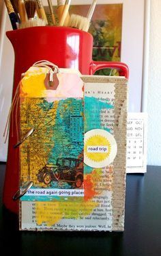 Mixed Media Travel/ Vacation Art Journal Kit filled with painted textures and bright colors