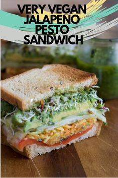 VERY VEGAN JALAPENO PESTO SANDWICH - This recipe has quite a few steps, but it's well worth it. If you are new to cooking don't be intimidated. Take it slow, and you too can recreate a restaurant quality Vegan sandwich at home. #veganrecipes #veganrecipeseasy #very #vegan #jalapeno #pesto #sandwich #sandwichrecipes #sandwichrecipeshealthy