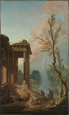 The Portico of a Country Mansion Hubert Robert (French, Paris 1733–1808 Paris)