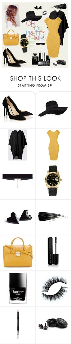 """""""Jimmy Choo"""" by suljic-melika ❤ liked on Polyvore featuring San Diego Hat Co., 8 Other Reasons, Rolex, Urban Decay, Furla, Marc Jacobs, Butter London, The Body Shop, Astell & Kern and polyvorefashion"""
