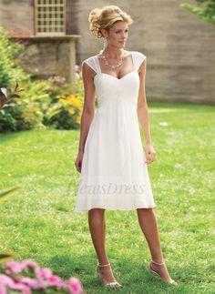 84a15037c626 A-Line Princess Sweetheart Knee-Length Ruffle Chiffon Zipper Up Cap Straps  Sleeveless