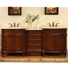 Silkroad Exclusive Marble Top 80-inch Double Sink Vanity Cabinet (Crema Marfil Top), Ivory