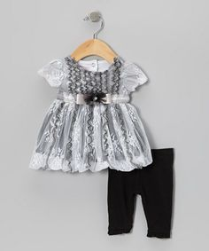 Take a look at this Black & White Lace Puff-Sleeve Top & Leggings - Infant by Nannette Baby on #zulily today!