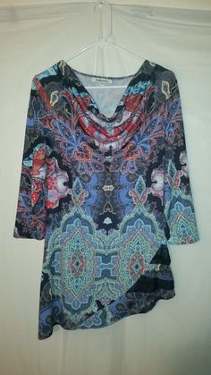 Womens Bellissima Multi-Color Long Sleeve Hippie Boho Blouse Large L #Bellissima #Blouse
