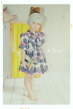 Love the clothes in this shop! Pink Painted Horses Bow Tie Girl Dress in Grey Punk and White Cotton Spring Summer Collection by Fleur and Dot