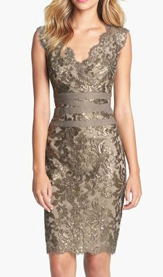 metallic lace sheath dress
